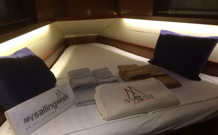 Beds made in Owners Cabin Oceanis 41